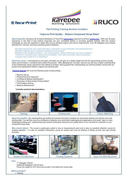 Pad Printing Training Seminar Invitation - Kaye Dee Marking