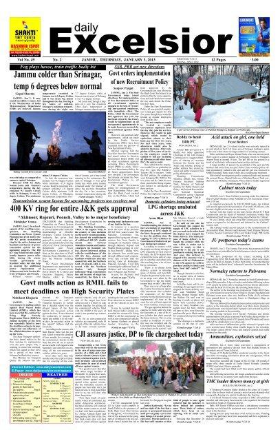 Jammu colder than Srinagar, temp 6 degrees     - Daily Excelsior