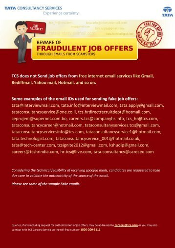 TCS does not Send job offers from free - TCS-Careers - Tata ...
