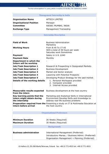 management internship in india internship description aiesecnet - Job Description Of Business Administration