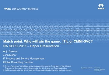 TCS IT Service Management Capabilities - Carnegie Mellon University