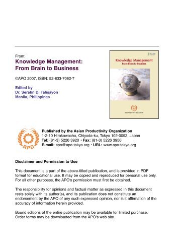 Knowledge Management: From Brain to Business (PDF 5.5 - Asian ...