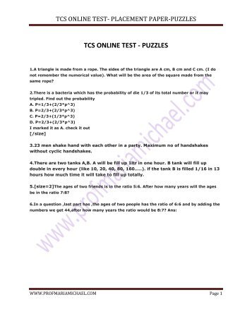 Tcs Placement Papers With Solution   Business   Computing And