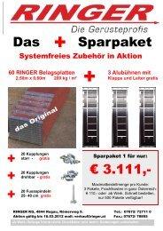 60 RINGER Belagsplatten 2 50m x 60m 200 kg / m² - Ringer KG