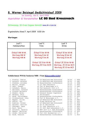 Ergebnisliste 8. Werner Beisiegel Gedächtnislauf 2009 5 ... - SK-Cross