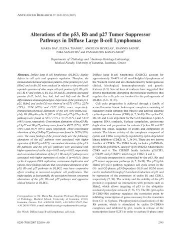 Alterations of the p53, Rb and p27 Tumor - Anticancer Research