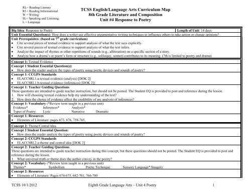 TCSS English Language Arts Curriculum Map 8th Grade