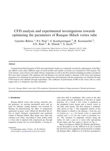CFD analysis and experimental investigations towards optimizing the