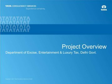 Project Overview by Excise Department(TCS) - eGovReach