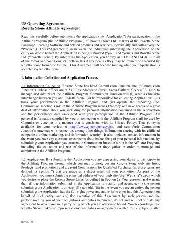 US Affiliate TCs _01 30 08 FINAL_ - Rosetta Stone