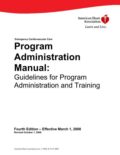 AHA Program Administration Manual PAM