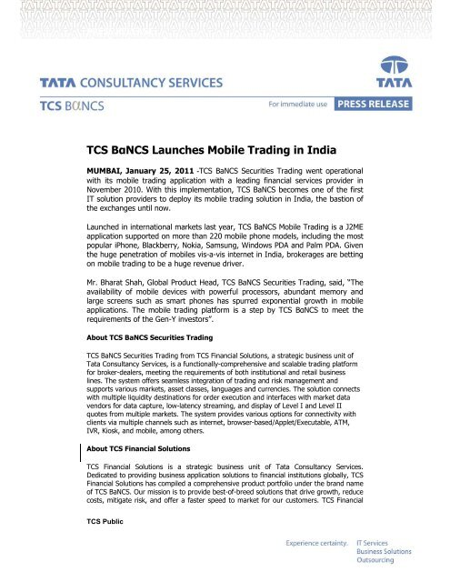 TCS BαNCS Launches Mobile Trading in India - TCS IT Wiz
