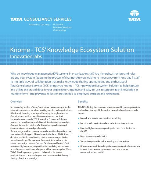 Knome TCS - Tata Consultancy Services
