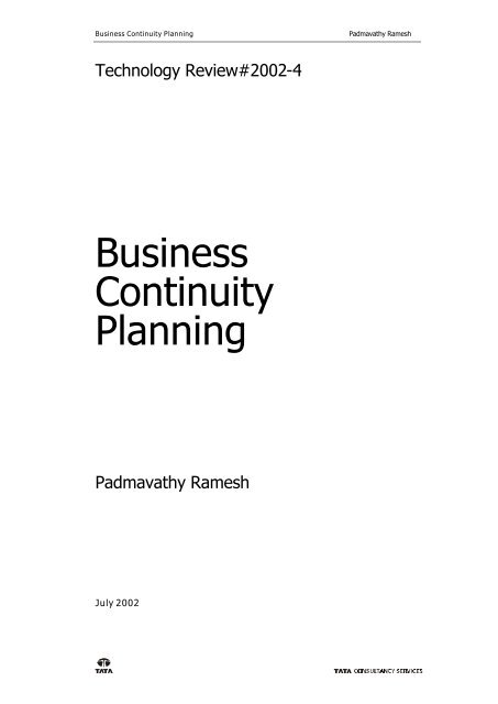 Business Continuity Planning pdf - Tata Consultancy Services