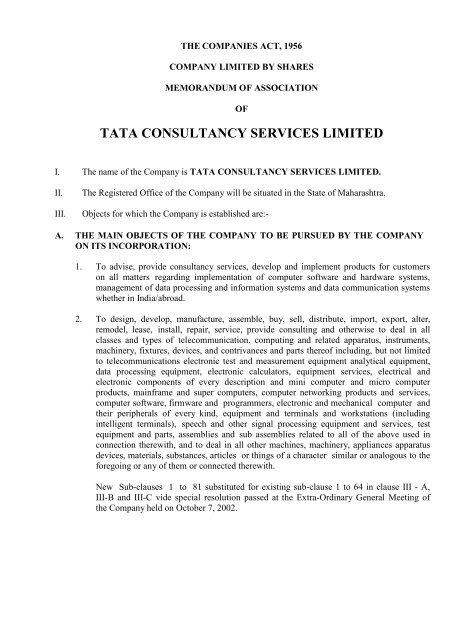 memorandum of association and articles of association