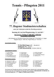 Tennis - Pfingsten 2011 - TC-SG-Hagen