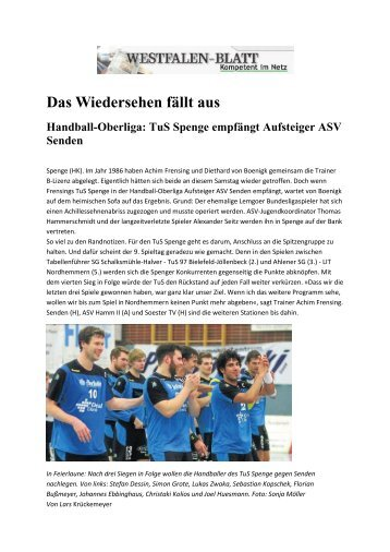Das Wiedersehen fällt aus Handball-Oberliga - TuS Spenge