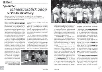 Jahresrückblick 2009 - TSG 1881 Sprockhövel eV
