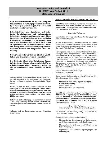 Amtsblatt Kultus und Unterricht Nr. 7/2011 vom 1. April ... - Kultusportal