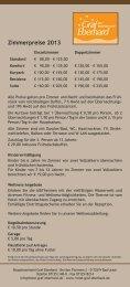 Preisliste 2013 - Hotel Graf Eberhard