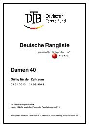 Deutsche Rangliste Damen 40 - Deutscher Tennis Bund
