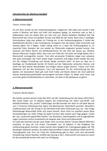 Jahresberichte der Abteilung Handball 1. Männermannschaft ...