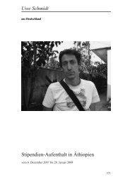 Stipendien-Aufenthalt in Äthiopien Uwe Schmidt - Heinz-Kühn-Stiftung