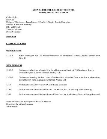 AGENDA FOR THE BOARD OF TRUSTEES Monday, July 16, 2012 ...