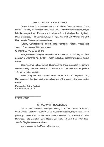 City Council Minutes 08SEPT09.pdf - City of Aberdeen