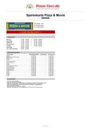Speisekarte Pizza & Movie - Pizza Taxi
