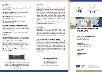 LITIGATING EUROPEAN UNION LAW - Irish Centre for European Law