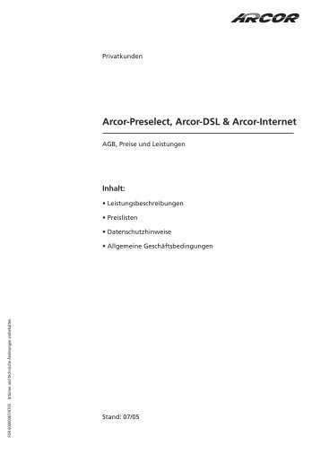 Arcor-Preselect, Arcor-Dsl & Arcor-Internet