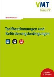 Tarifbestimmungen und Beförderungsbedingungen - VMT ...