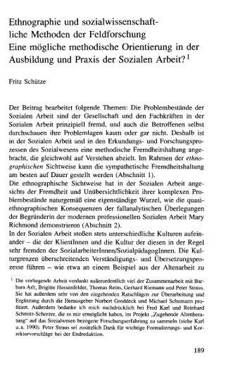 Ethnographie und sozialwissenschaft- liehe Methoden der ... - SSOAR