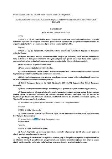 ATEX 100 Direktifi 94/9/AT (Türkçe)