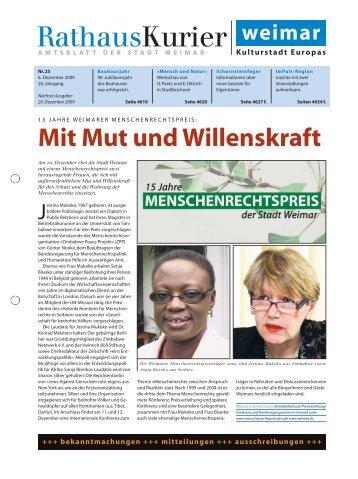 Rathauskurier 23 2009 - Stadt Weimar