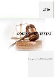 godišnji izvještaj - Ured registrara