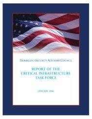 Report of the Critical Infrastructure Task Force - U.S. Department of ...