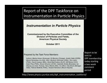 DPF Instrumentation Taskforce - Office of Science