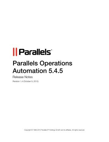 Parallels Operations Automation 5.4.5 - Download - Parallels