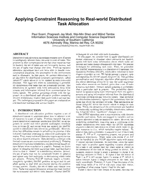 Applying Constraint Reasoning to Real-world Distributed Task ...