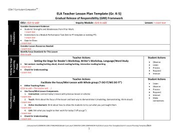 ELA Teacher Lesson Plan Template (Gr. K U20105)   CESA 6