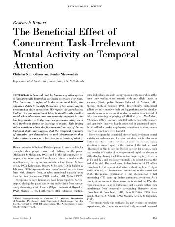The Beneficial Effect of Concurrent Task-Irrelevant Mental Activity on ...