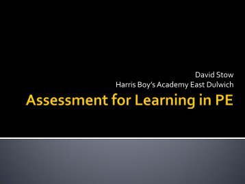 Assessment for Learning in PE - Harris Federation