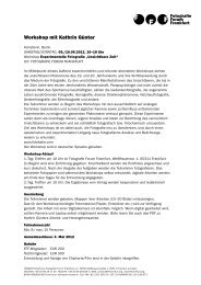 Anmeldung – Workshop - Fotografie Forum Frankfurt