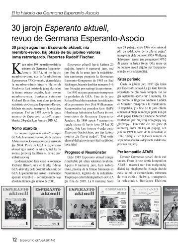 30 jarojn Esperanto aktuell, revuo de Germana Esperanto-Asocio