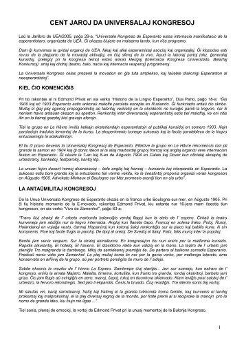 LA UNIVERSALAJ KONGRESOJ DE ESPERANTO - KKE