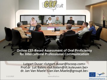Online CEF-Based Assessment of Oral Proficiency for ... - EACEA