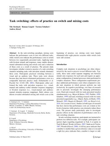 Task switching: effects of practice on switch and mixing costs