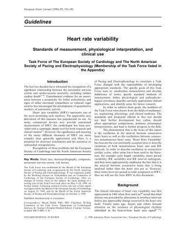 Heart rate variability - European Society of Cardiology